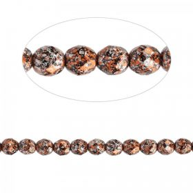 Preciosa Czech Fire Polished Faceted Beads 8mm Orange Tweed Pk50