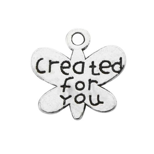 Butterfly - created for you / charm pendant / 13x13x2mm / silver / 8pcs
