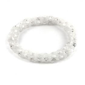White & Clear Duo Bead Bangle Kit -Makes x1
