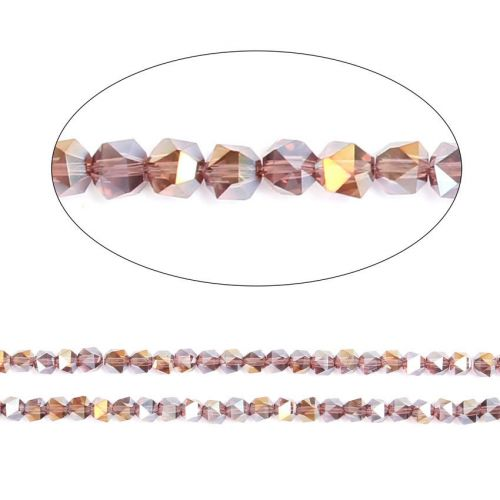 "X-Light Amethyst AB Essential Crystal 6mm Faceted Hexagon Beads 20"" Strand"