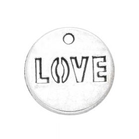 LOVE / charm pendant / 14x14x1mm / silver / 4pcs