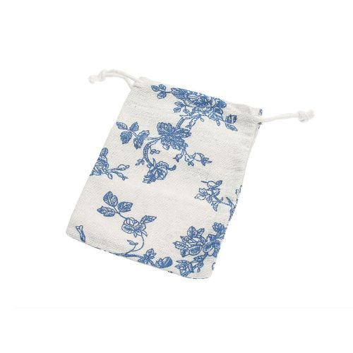 Linen bag with print / 10x13cm / light blue / 4pcs