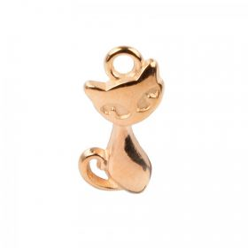 Rose Gold Plated Zamak Cat Charm 12x16mm Pk1