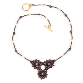 Topaz and Gold Flora Cluster Necklace Take a Make Break Kit - Makes x1