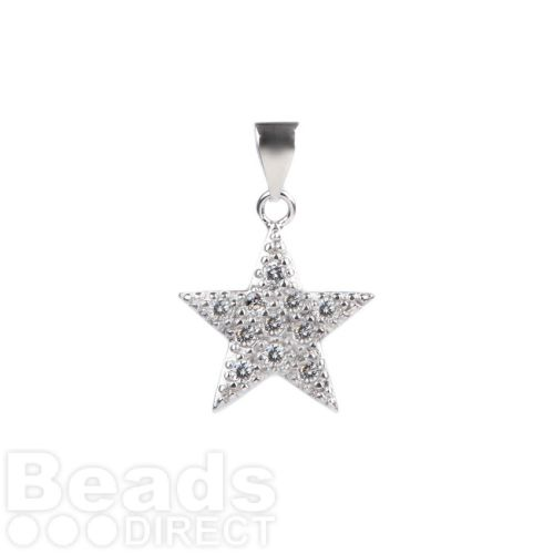 Rhodium Plated Cubic Zirconia Star Charm 14mm with Bail Pk1