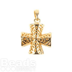 Gold Plated Filigree Cross Hollow Charm with Bail 17mm Pk1