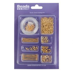 Beads Direct Gold Plated Findings Kit with Chain and Elastic