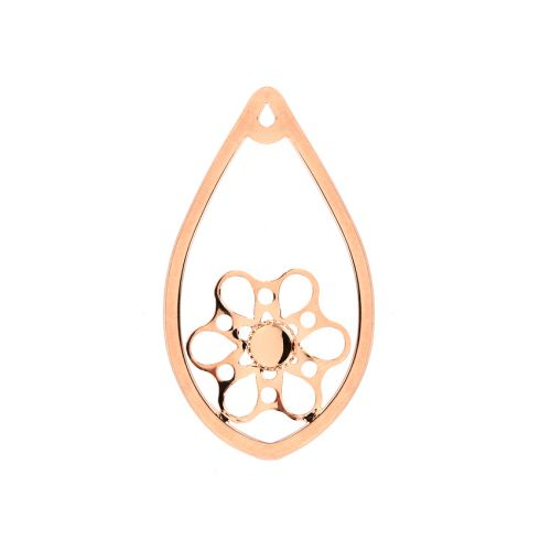 Rose Gold Plated Drop Flower Pendant Holds SS20 26x44mm Pk1