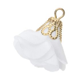 Satin flower charm / open end cap / 26mm / gold plated / white / 2pcs