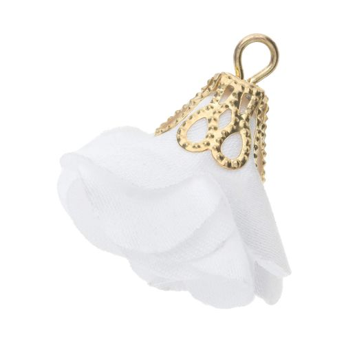 Satin Flower / with an openwork tip / 26mm / Gold Plated / white / 2 pcs