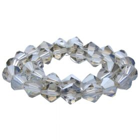 CrystaLove™ crystals / glass / bicone / 6mm / grey / transparent / 48pcs