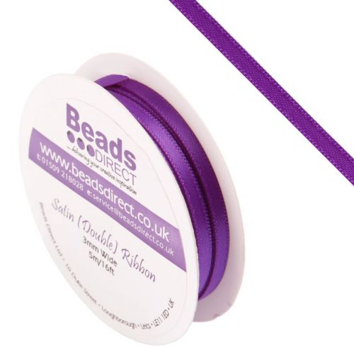 X-Purple Double Satin Ribbon 3mm Sold on a 5 Metre Reel