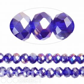 Essential Crystal Faceted 8mm Rondelle Colbalt AB 72pk