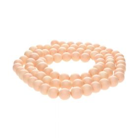 Milly™ satin / round / 10mm / peach / 85pcs