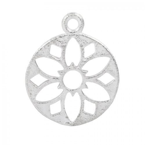 Silver Plated Brushed Filigree Flower Round Pendant 29mm Pk2