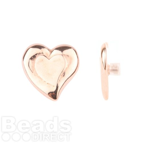 Rose Gold Plated Heart Pin Charm for Bangle with Stopper 24mm Pk1