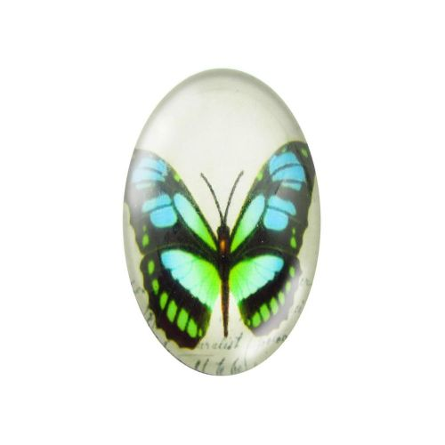 Glass cabochon with graphics 13x18mm PT1529 / green-blue / 2pcs