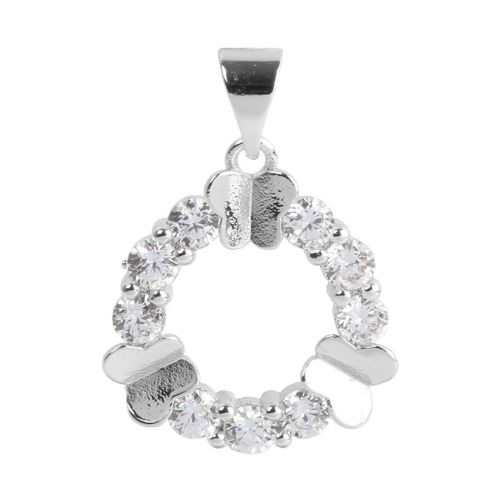 Silver Plated Circle Butterfly Charm w/Bail Zircon Crystals 16mm Pk1