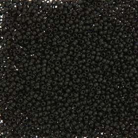 Toho Size 11 Round Seed Beads Opaque Frosted Jet 7.5g TUBE