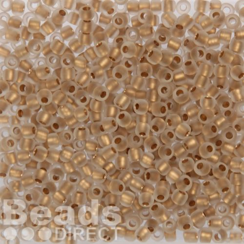 Toho Size 6 Round Seed Beads Frosted Gold-Lined Crystal 10g