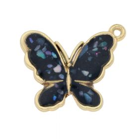 SweetCharm™ butterfly / charm pendant / 18x21mm / KC gold-black / 1pcs