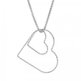 Ready To Wear Sterling Silver 925 Double Floating Heart Necklace