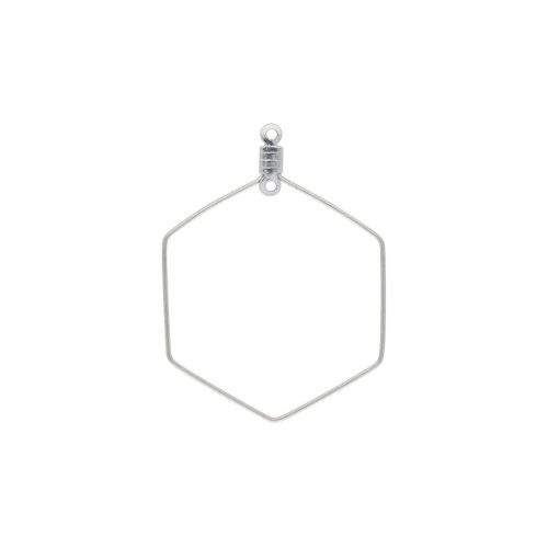 Hexagon / earring base / surgical steel / wire thickness 0.7mm / 40x29mm / silver / 2pcs