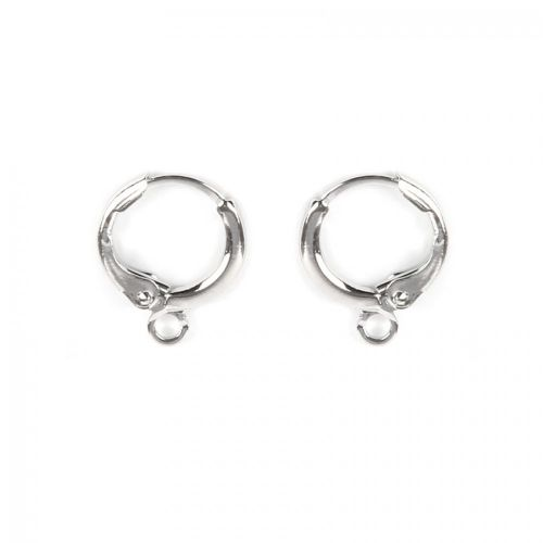 Rhodium Plated Round Earring Base with Loop 11mm 1xPair