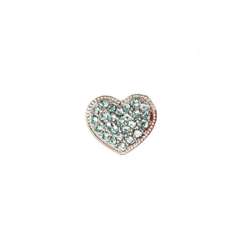 X-Silver Plated Slider Charm Bead Blue Crystal Heart 11x13mm Pk1