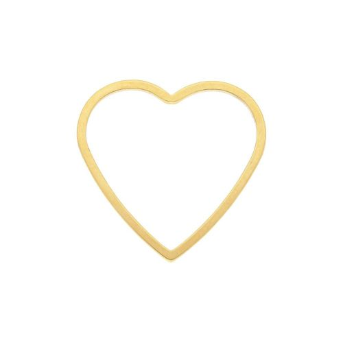 Heart / geometric base / surgical steel / 19x20x1mm / gold / 1pcs
