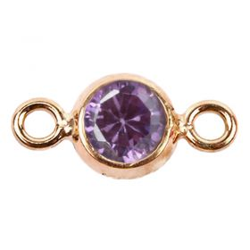 Rose Gold Pl Sterling Silver 925 Amethyst CZ February Birthstone Connector 4mm Pk1