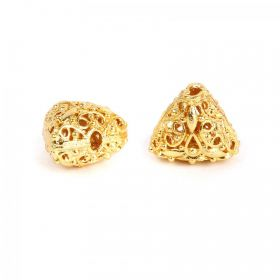 Gold Plated Hollow Filigree Triangle Beads 11x14mm Pk2