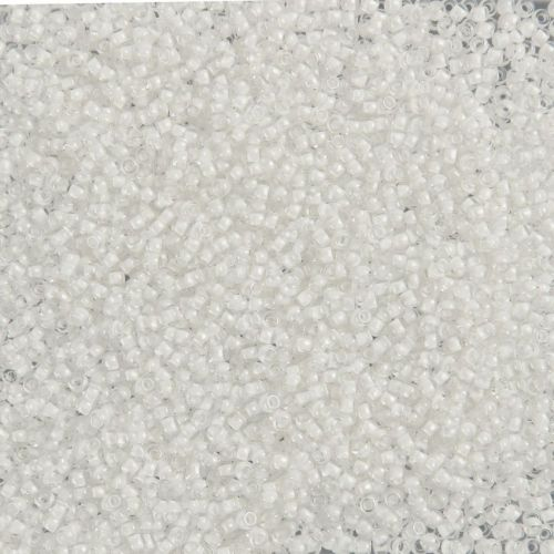 X- Toho Size 11 Round Seed Beads Crystal Inside Colour Snow Lined 10g