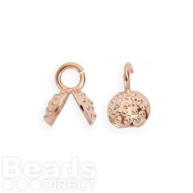 Rose Gold Plated Small Clam Shell Cord/Ribbon End 7mm Pk2