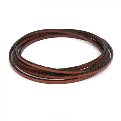 Light Brown Flat Genuine Leather Cord 3mm Pre Cut 1metre