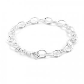 """Sterling Silver 925 Oval Cable Engraved Bracelet 8x10mm 8"""""""