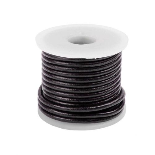 Dark Purple Round 2mm Leather Cord 5metres