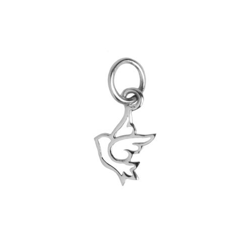 Sterling Silver 925 Small Dove Hollow Charm 8x13mm Pk1