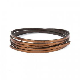 Bronze Flat Genuine Leather Cord 3mm Pre Cut 1metre