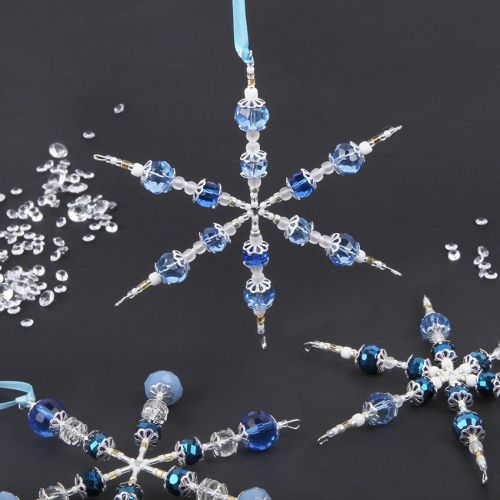 X-Blue Beaded Snowflake Home Decor Kit - Makes Multiple