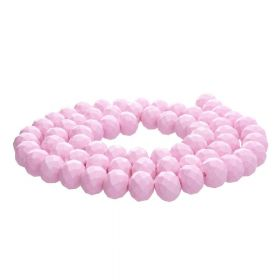Milly™ / satin rondelle / 6x8mm / pink / 70pcs