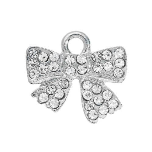Glamm ™ Bow / charm pendant / with zircons / 13x14x2mm / silver plated / 1pcs