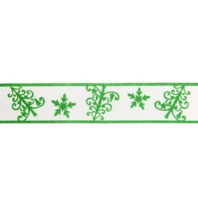Green and White Filigree Tree Print Fancy Ribbon 22mm Pre Cut 1m Length