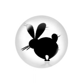 Glass cabochon with graphics K20 PT1481 / black and white / 20mm / 2pcs