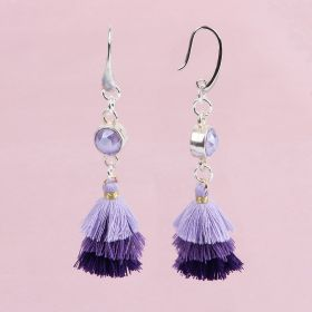Lilac Tassel Earrings made with Swarovski - Makes x1 Pair
