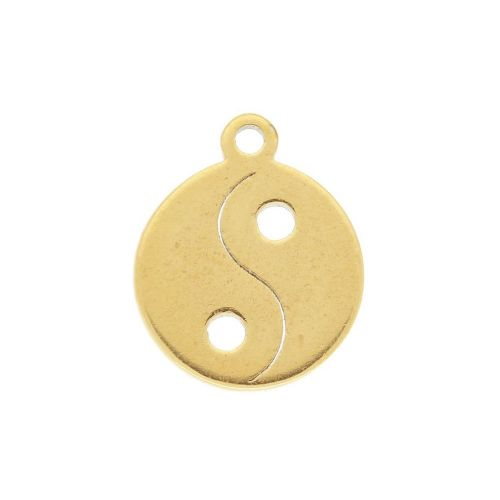 Yin and Yang / charm / surgical steel / 11x9mm / gold / 2pcs