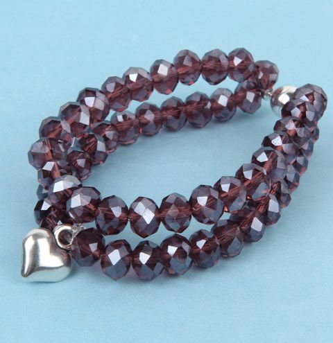 Purple Heart Crystal Bracelet
