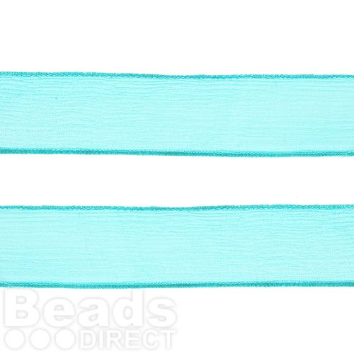 Turquoise Silk Crepe Ribbon 25mm 80cm Length