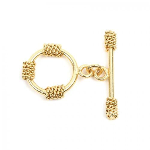 Gold Plated Rope Effect Toggle Clasp Set 19x30mm Pk1