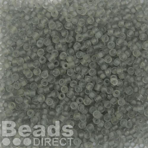 Toho Size 8 Round Seed Beads Transparent Frosted Light Grey 10g